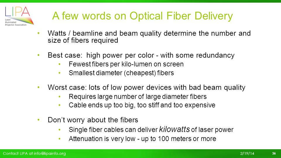 A few words on Optical Fiber Delivery