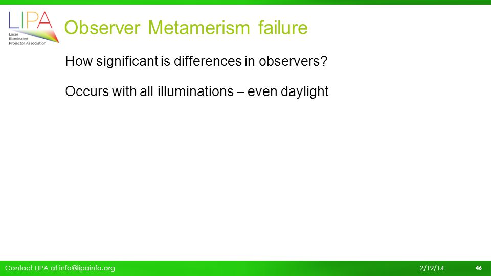 Observer Metamerism failure