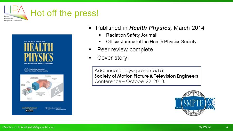 Hot off the press! Published in Health Physics, March 2014
