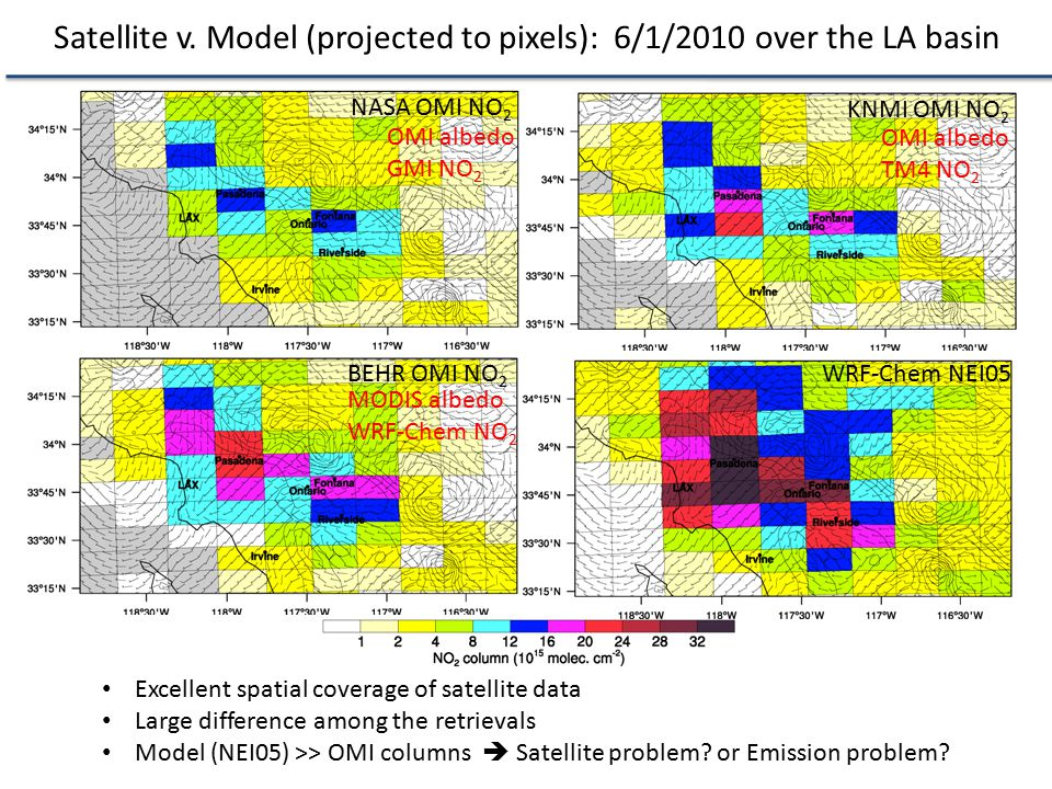 Satellite v. Model (projected to pixels): 6/1/2010 over the LA basin