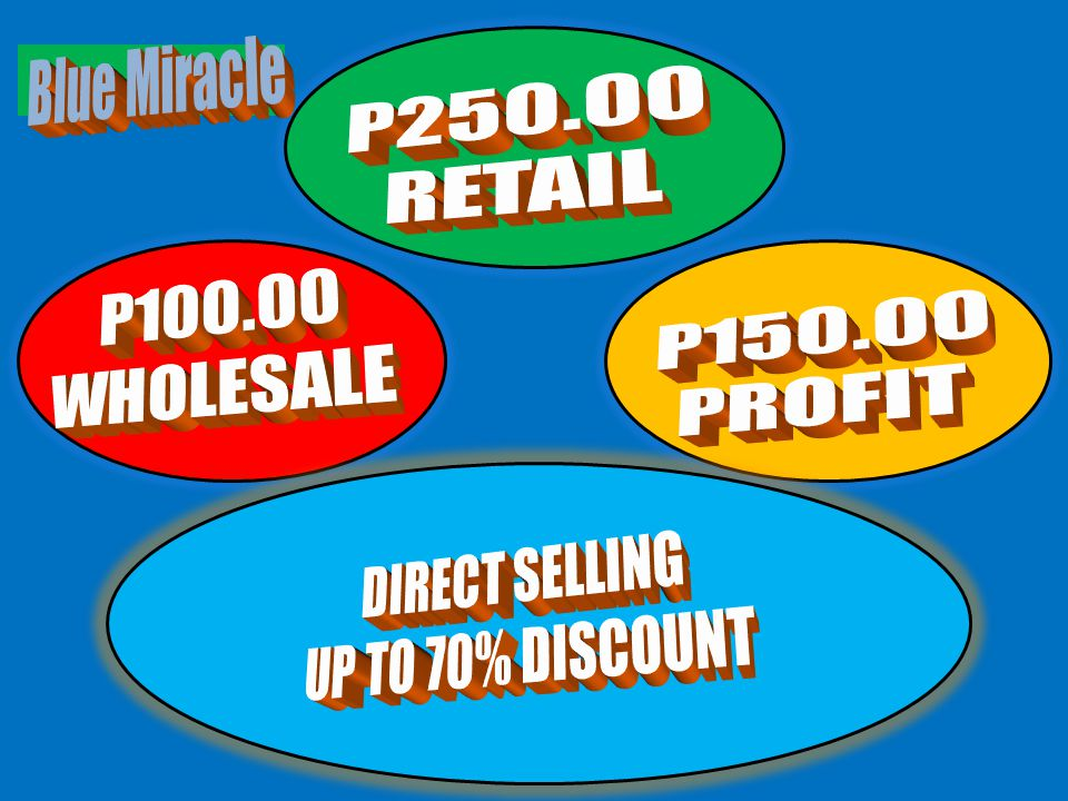 Blue Miracle P250.00 RETAIL P100.00 P150.00 WHOLESALE PROFIT