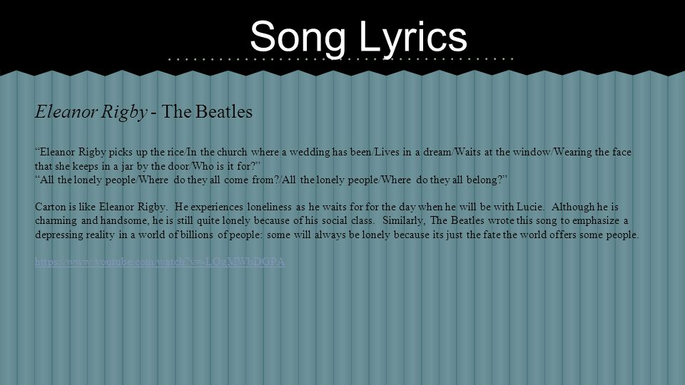 Song Lyrics Eleanor Rigby - The Beatles