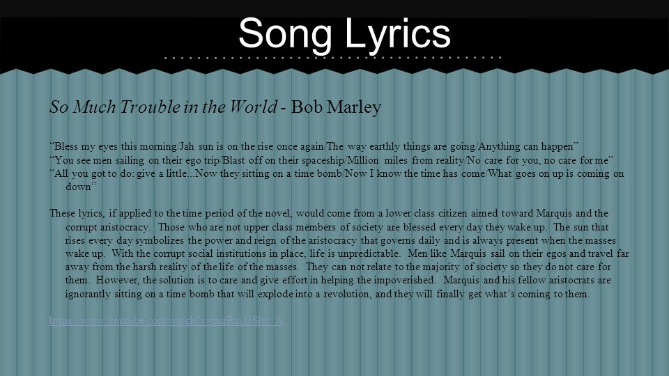 Song Lyrics So Much Trouble in the World - Bob Marley