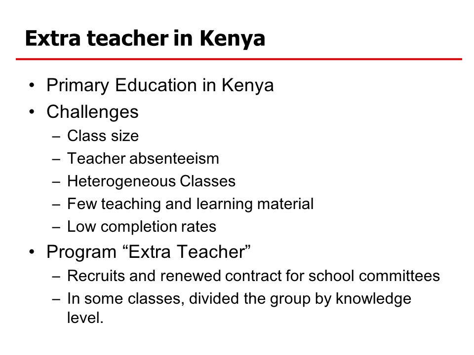 Extra teacher in Kenya Primary Education in Kenya Challenges