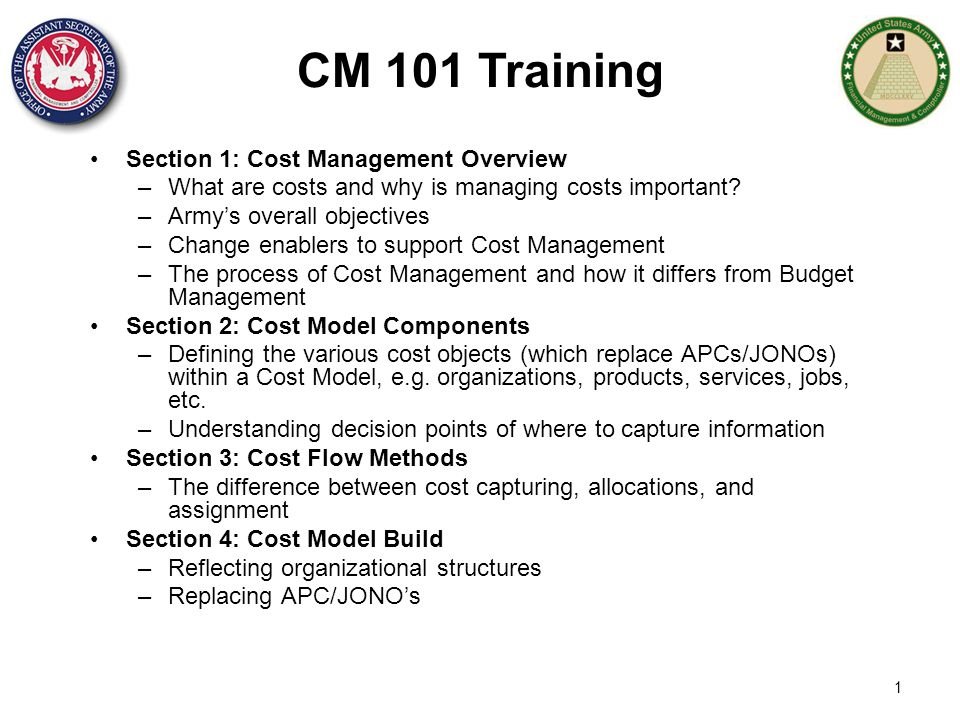 CM 101 Training Section 1: Cost Management Overview