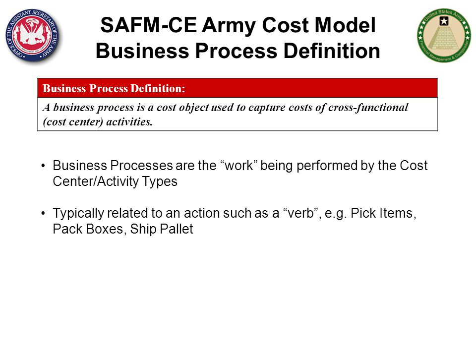 SAFM-CE Army Cost Model Business Process Definition