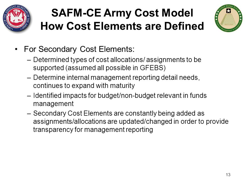 SAFM-CE Army Cost Model How Cost Elements are Defined