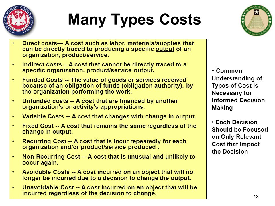 Many Types Costs
