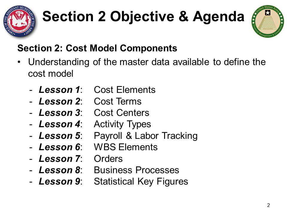 Section 2 Objective & Agenda