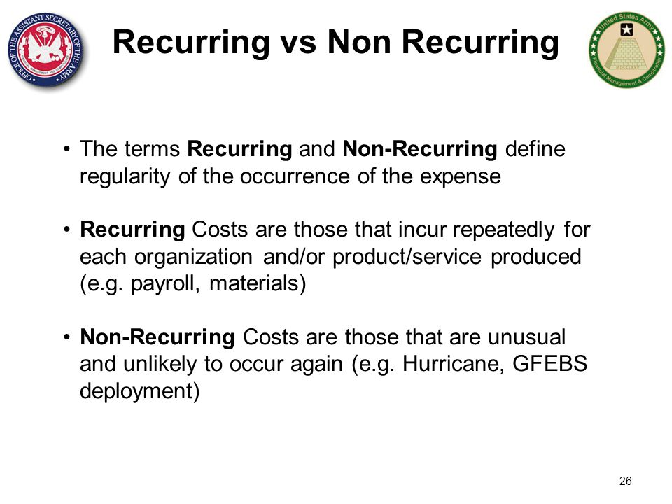 Recurring vs Non Recurring