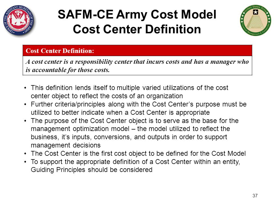SAFM-CE Army Cost Model Cost Center Definition
