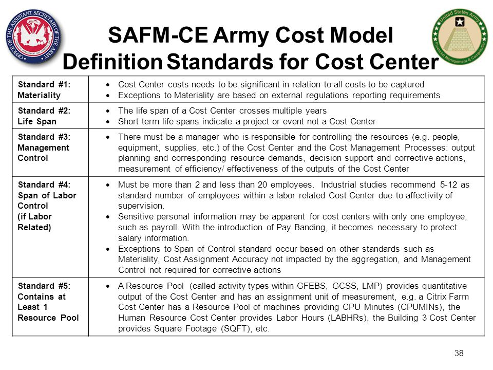 SAFM-CE Army Cost Model Definition Standards for Cost Center
