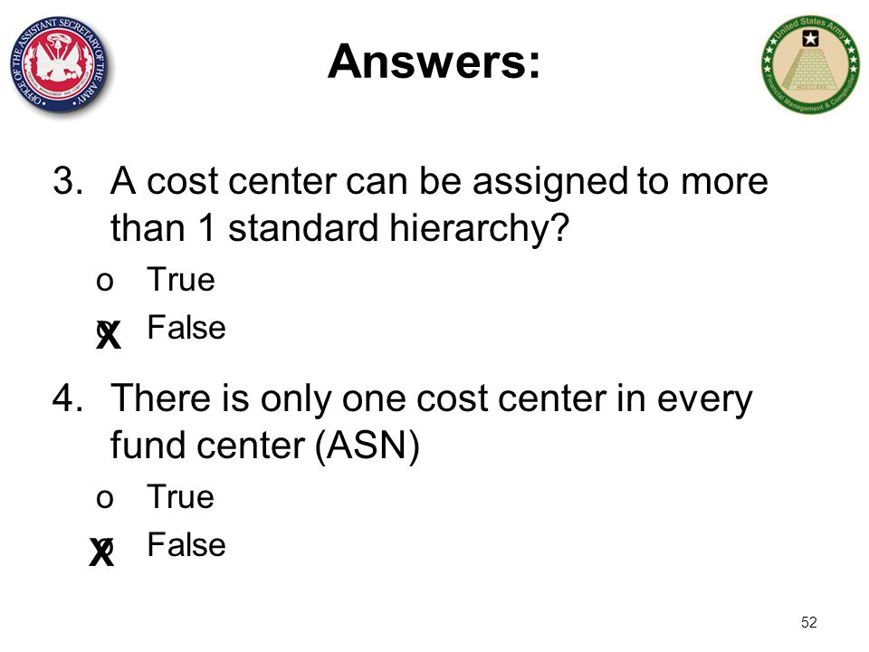 Answers: A cost center can be assigned to more than 1 standard hierarchy True. False. X.