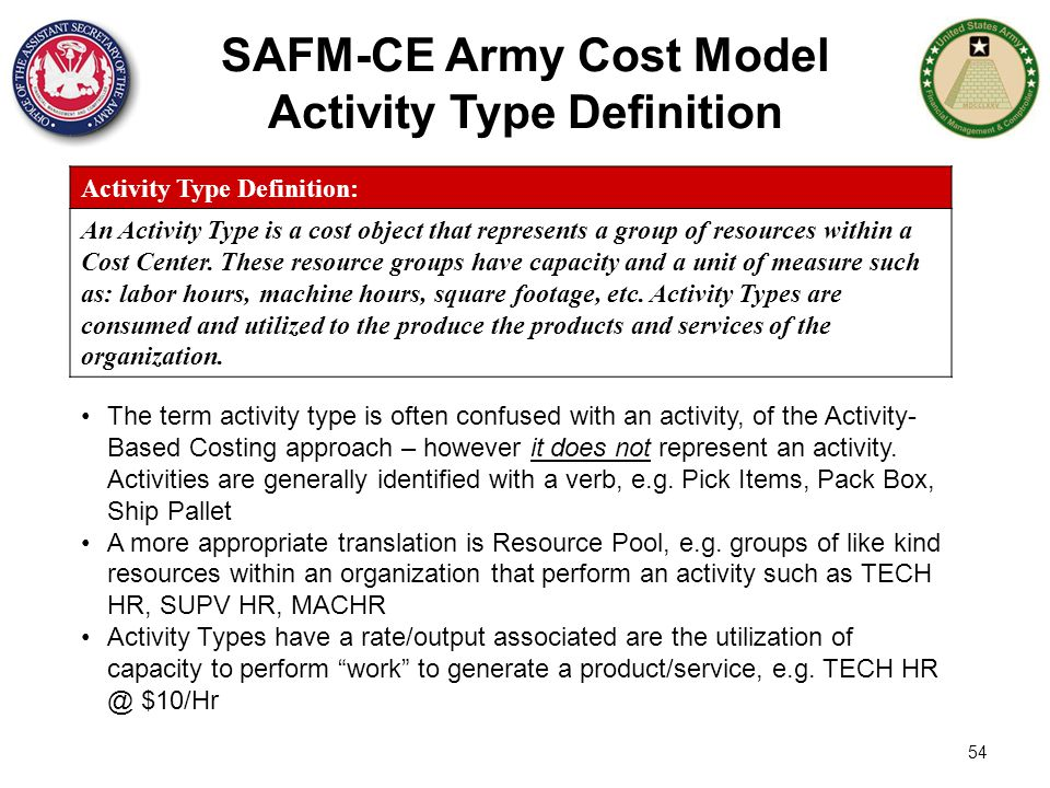 SAFM-CE Army Cost Model Activity Type Definition