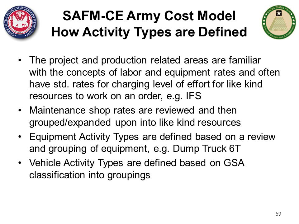 SAFM-CE Army Cost Model How Activity Types are Defined