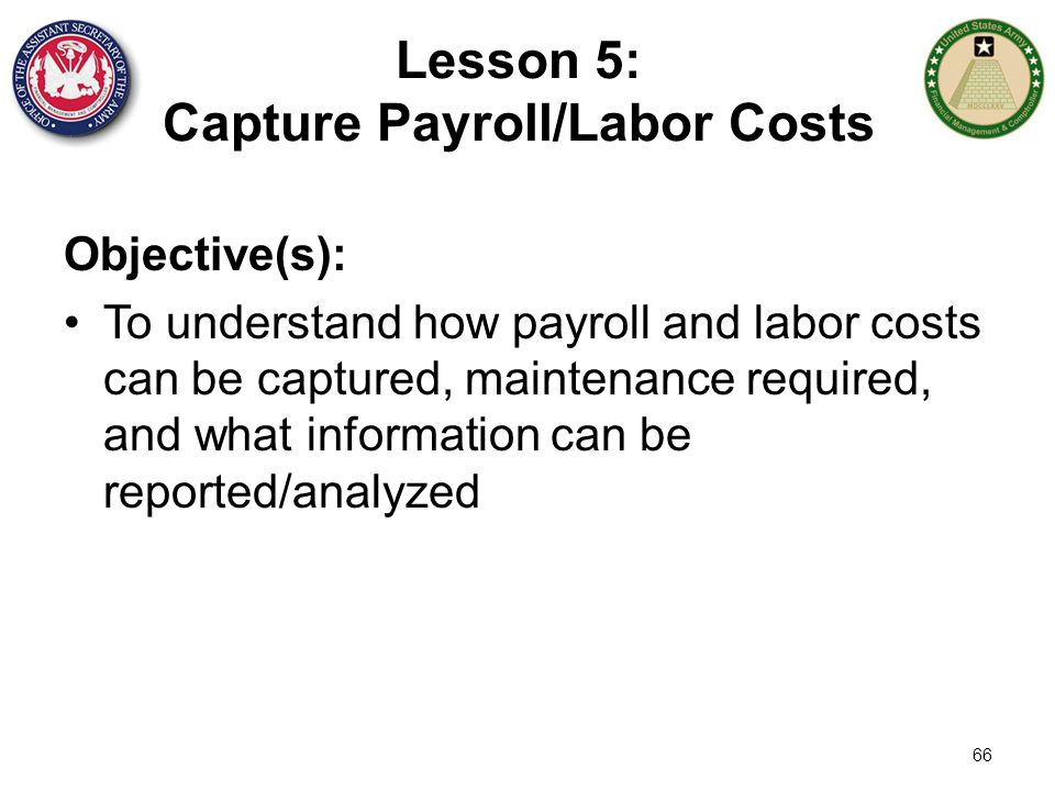 Lesson 5: Capture Payroll/Labor Costs