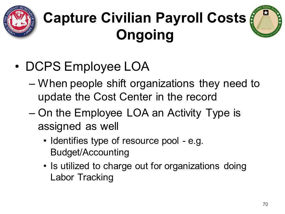 Capture Civilian Payroll Costs Ongoing