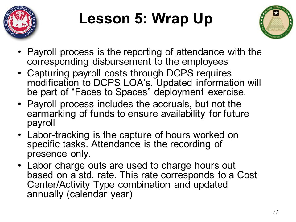 Lesson 5: Wrap Up Payroll process is the reporting of attendance with the corresponding disbursement to the employees.
