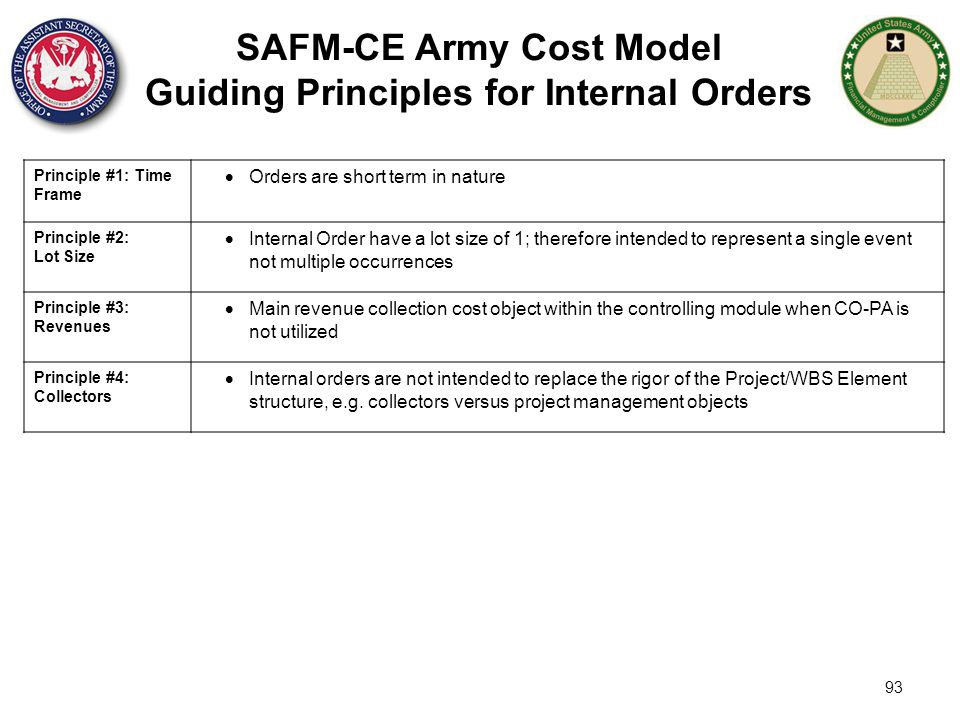 SAFM-CE Army Cost Model Guiding Principles for Internal Orders