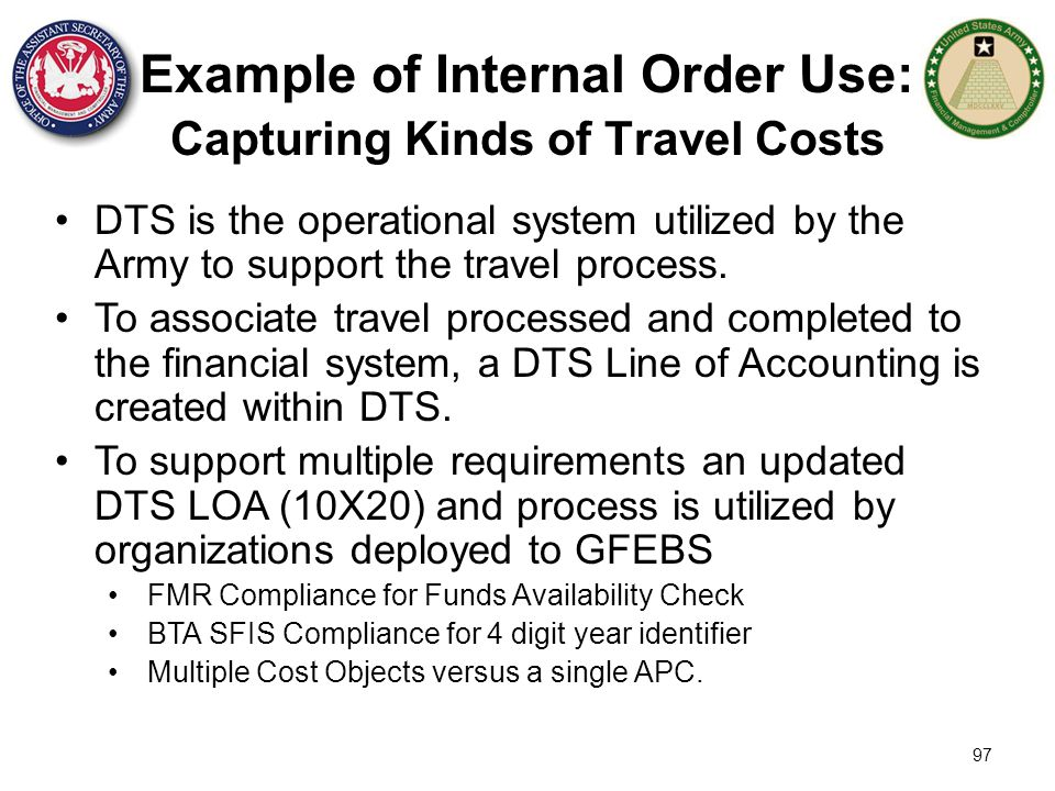 Example of Internal Order Use: Capturing Kinds of Travel Costs