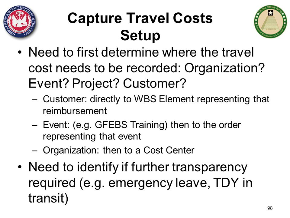 Capture Travel Costs Setup