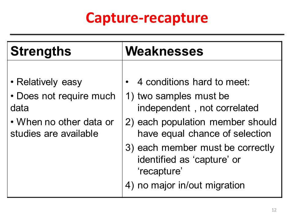 Capture-recapture Strengths Weaknesses Relatively easy