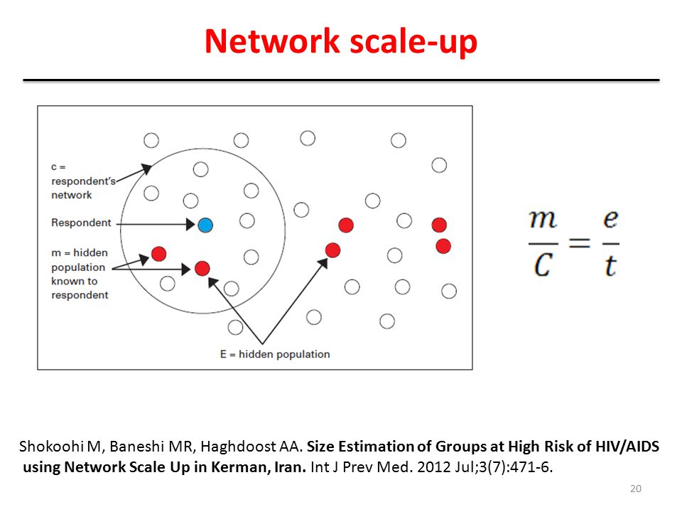 Network scale-up Shokoohi M, Baneshi MR, Haghdoost AA. Size Estimation of Groups at High Risk of HIV/AIDS.