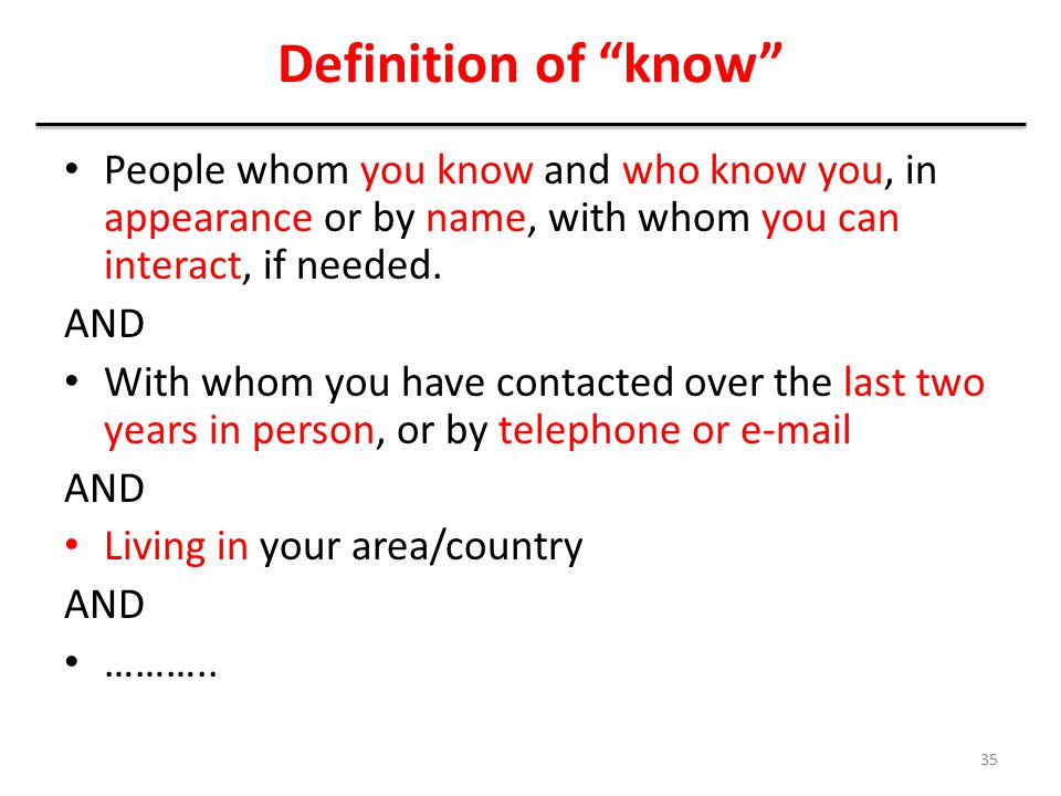 Definition of know People whom you know and who know you, in appearance or by name, with whom you can interact, if needed.