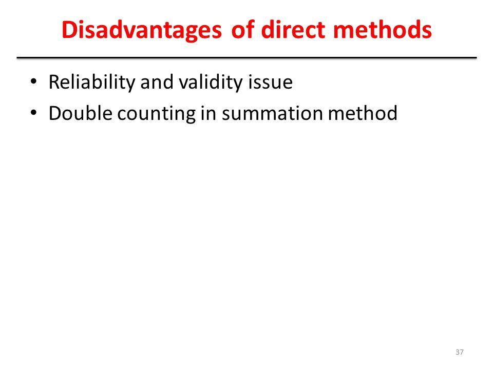 Disadvantages of direct methods