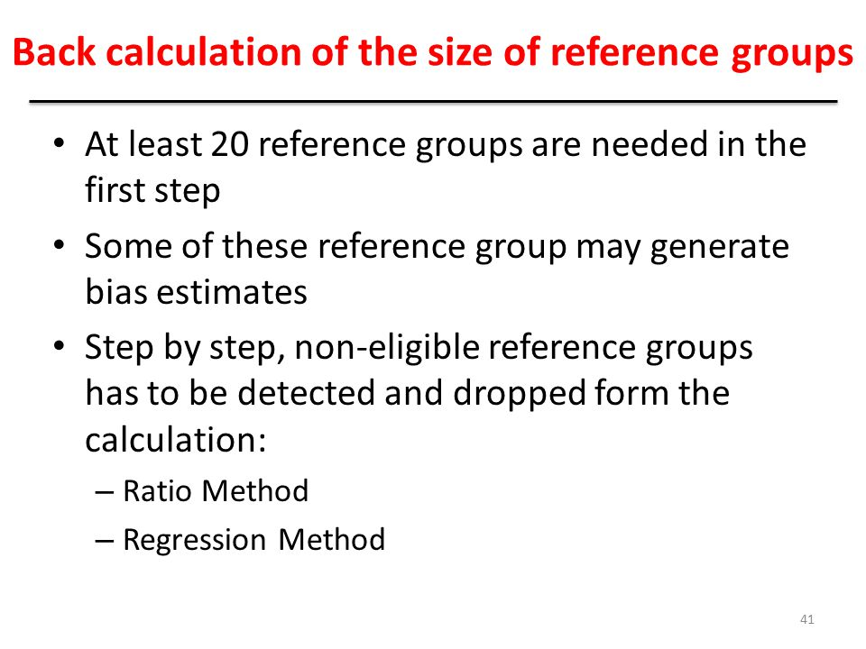 Back calculation of the size of reference groups