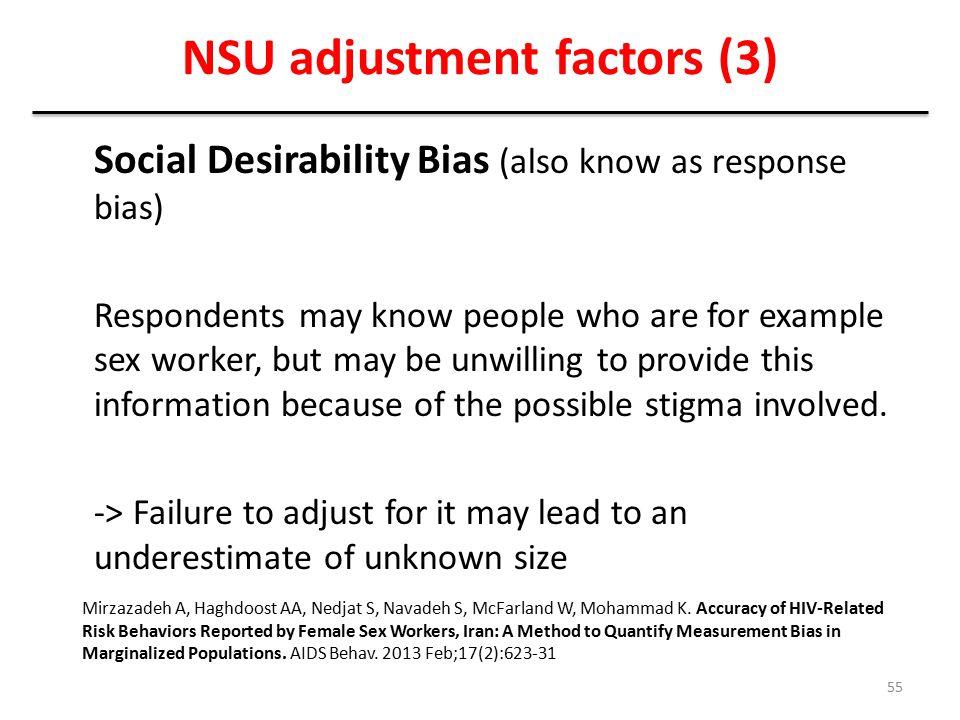 NSU adjustment factors (3)
