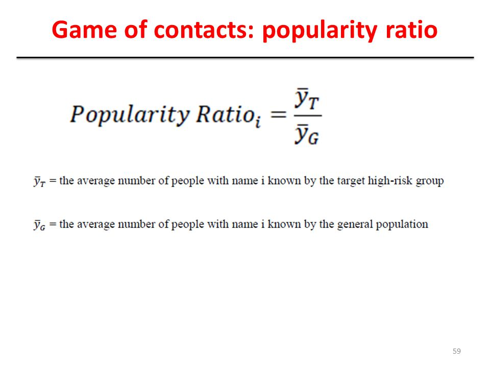Game of contacts: popularity ratio