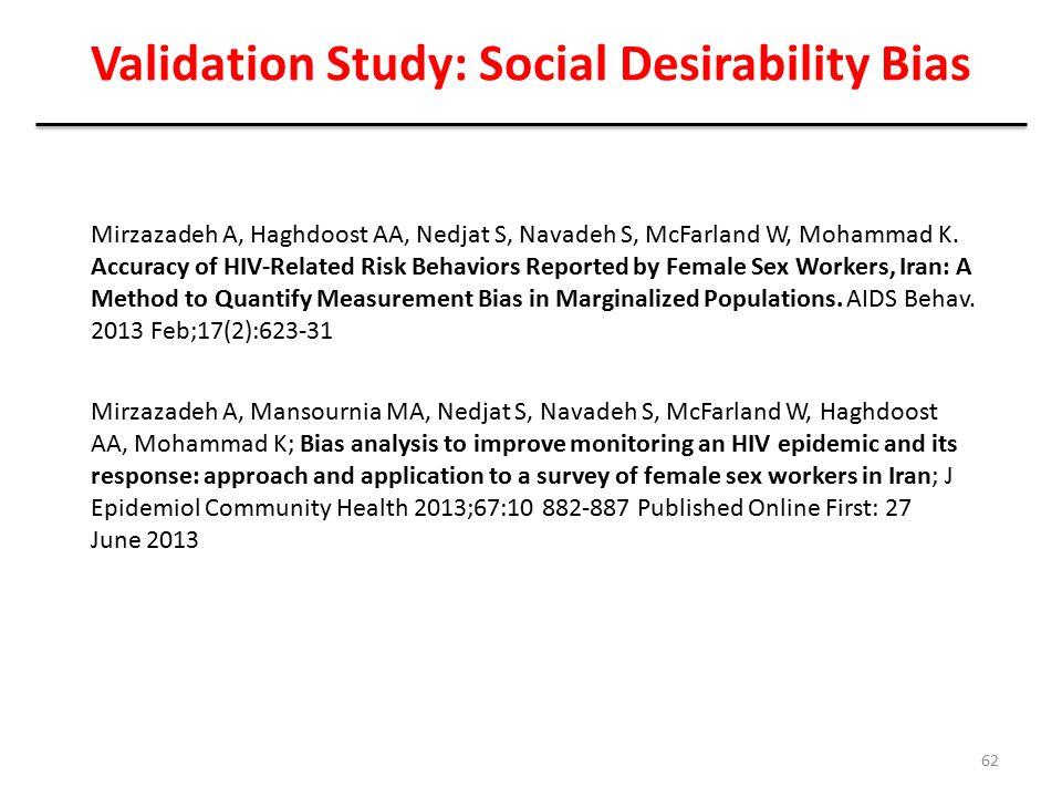 Validation Study: Social Desirability Bias