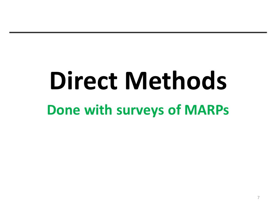 Done with surveys of MARPs