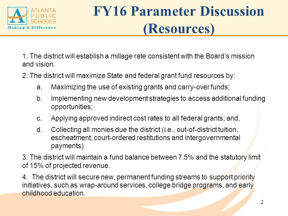 FY16 Parameter Discussion (Resources)