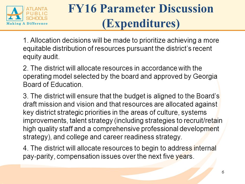 FY16 Parameter Discussion (Expenditures)