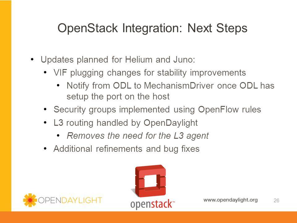 OpenStack Integration: Next Steps