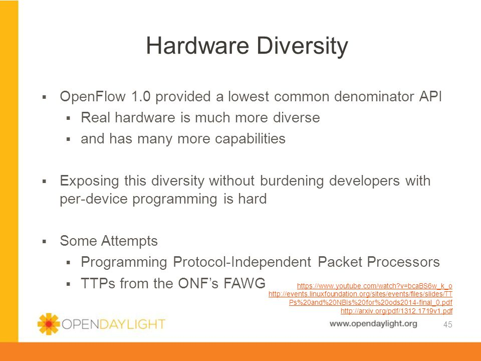 Hardware Diversity OpenFlow 1.0 provided a lowest common denominator API. Real hardware is much more diverse.