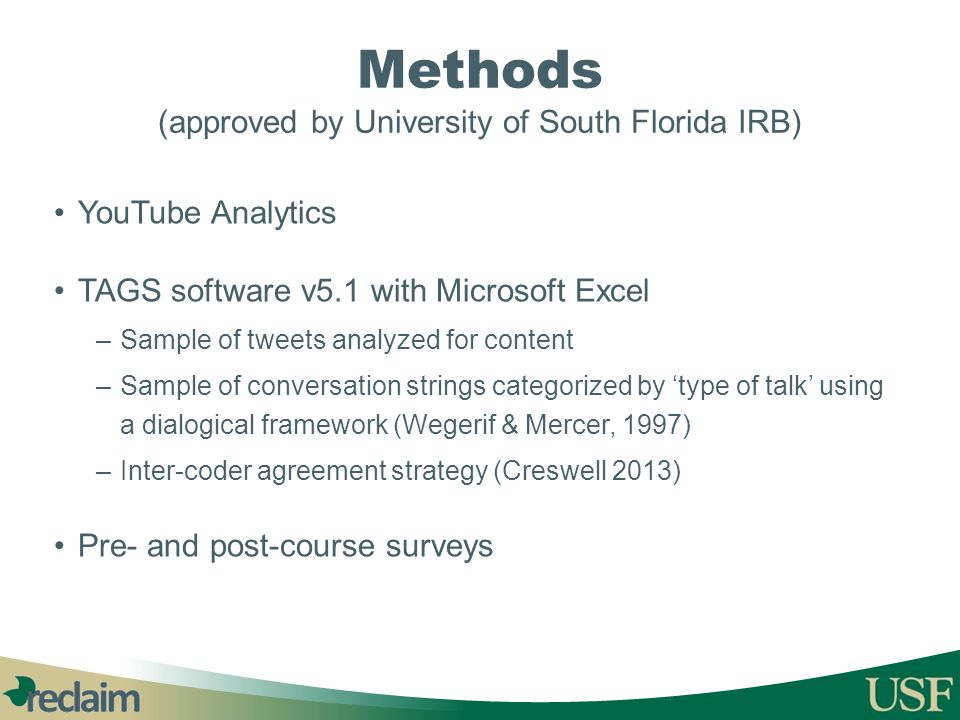 Methods (approved by University of South Florida IRB)
