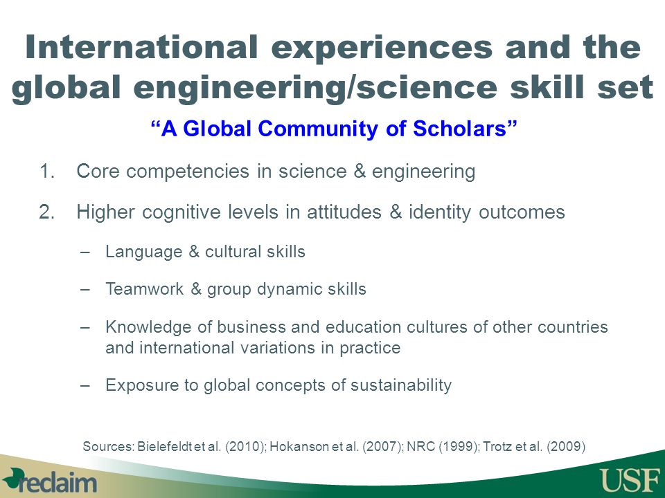 International experiences and the global engineering/science skill set