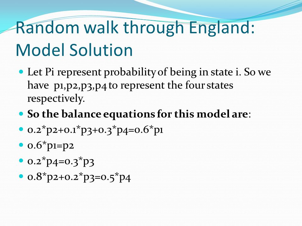 Random walk through England: Model Solution