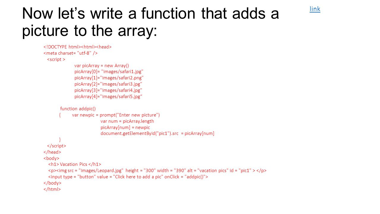 Now let's write a function that adds a picture to the array: