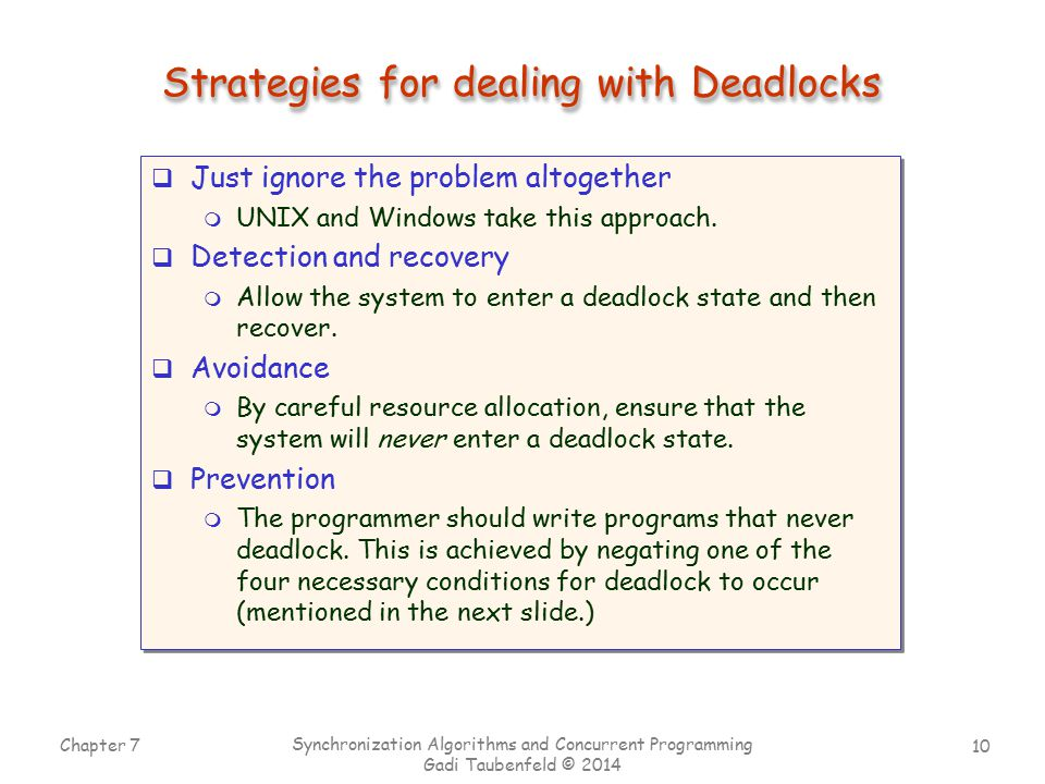 Strategies for dealing with Deadlocks