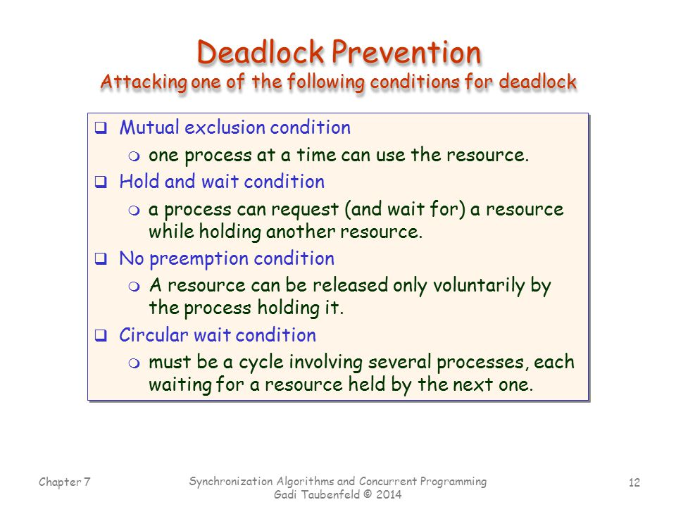Deadlock Prevention Attacking one of the following conditions for deadlock