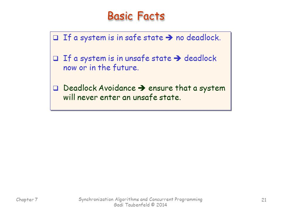 Basic Facts If a system is in safe state  no deadlock.