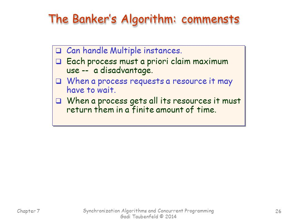 The Banker's Algorithm: commensts
