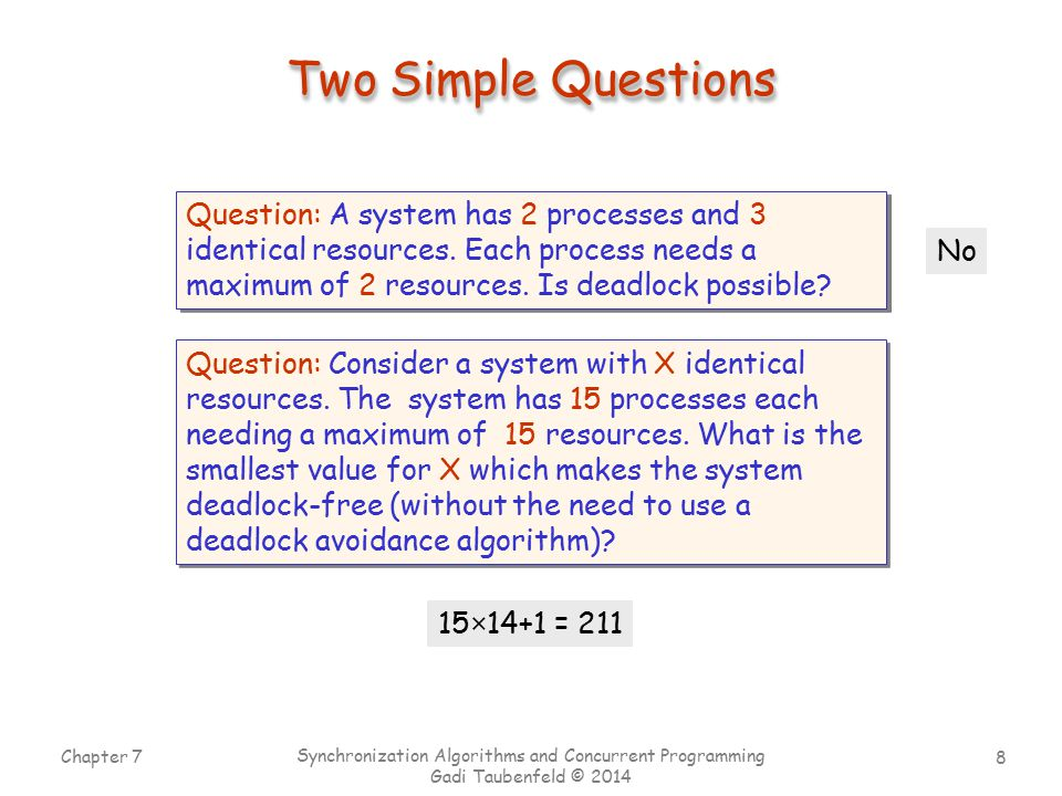 Two Simple Questions Question: A system has 2 processes and 3 identical resources. Each process needs a maximum of 2 resources. Is deadlock possible