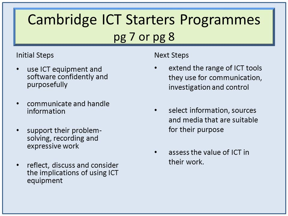 Cambridge ICT Starters Programmes pg 7 or pg 8