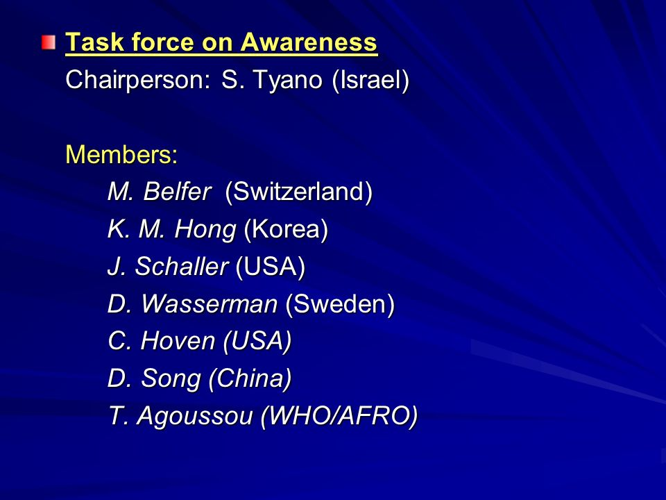 Task force on Awareness