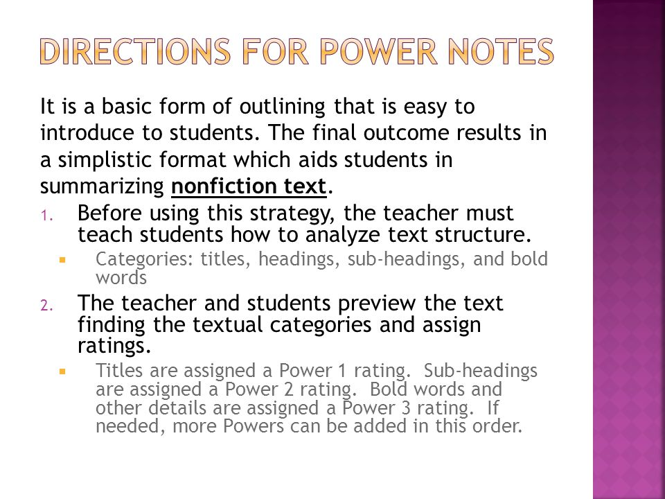 Directions for Power notes